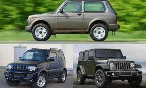 Внедорожники: Lada 4×4 «Нива», Suzuki Jimny, Jeep Wrangler