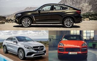 Купе кроссоверы: BMW X6 Coupe, Mercedes Benz GLE Coupe, Porsche Cayenne Coupe