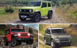 3-дверные внедорожники: Suzuki Jimny, Jeep Wrangler, Land Rover Defender 90