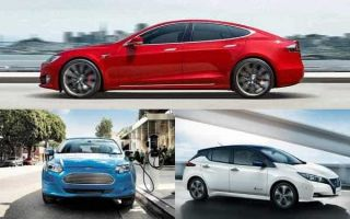 Электромобили: Tesla Model S, Ford Focus Electric, Nissan Leaf