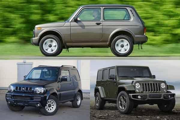 Внедорожники: Lada 4x4 Нива, Suzuki Jimny, Jeep Wrangler