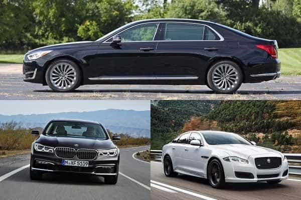 Представительские седаны Genesis G90, BMW 730, Jaguar XJ