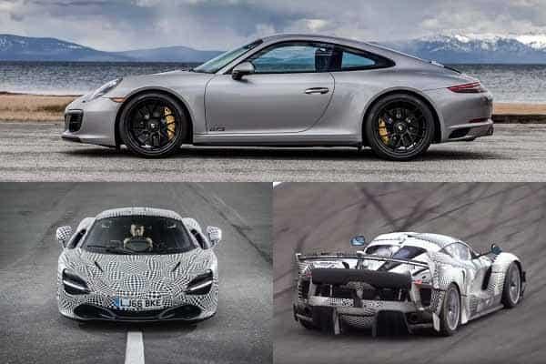 Спорткары 2018 года Porsche 911, McLaren BP23, Ferrari FXX K Evoluzione